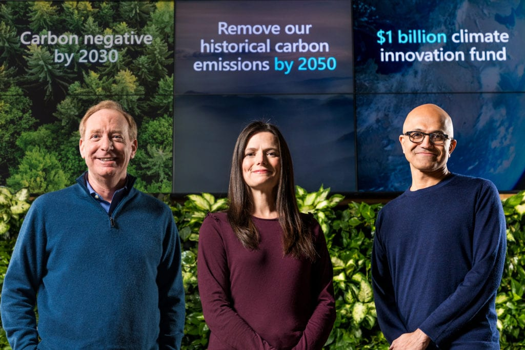Brad Smith with Amy Hood and Satya Nadella