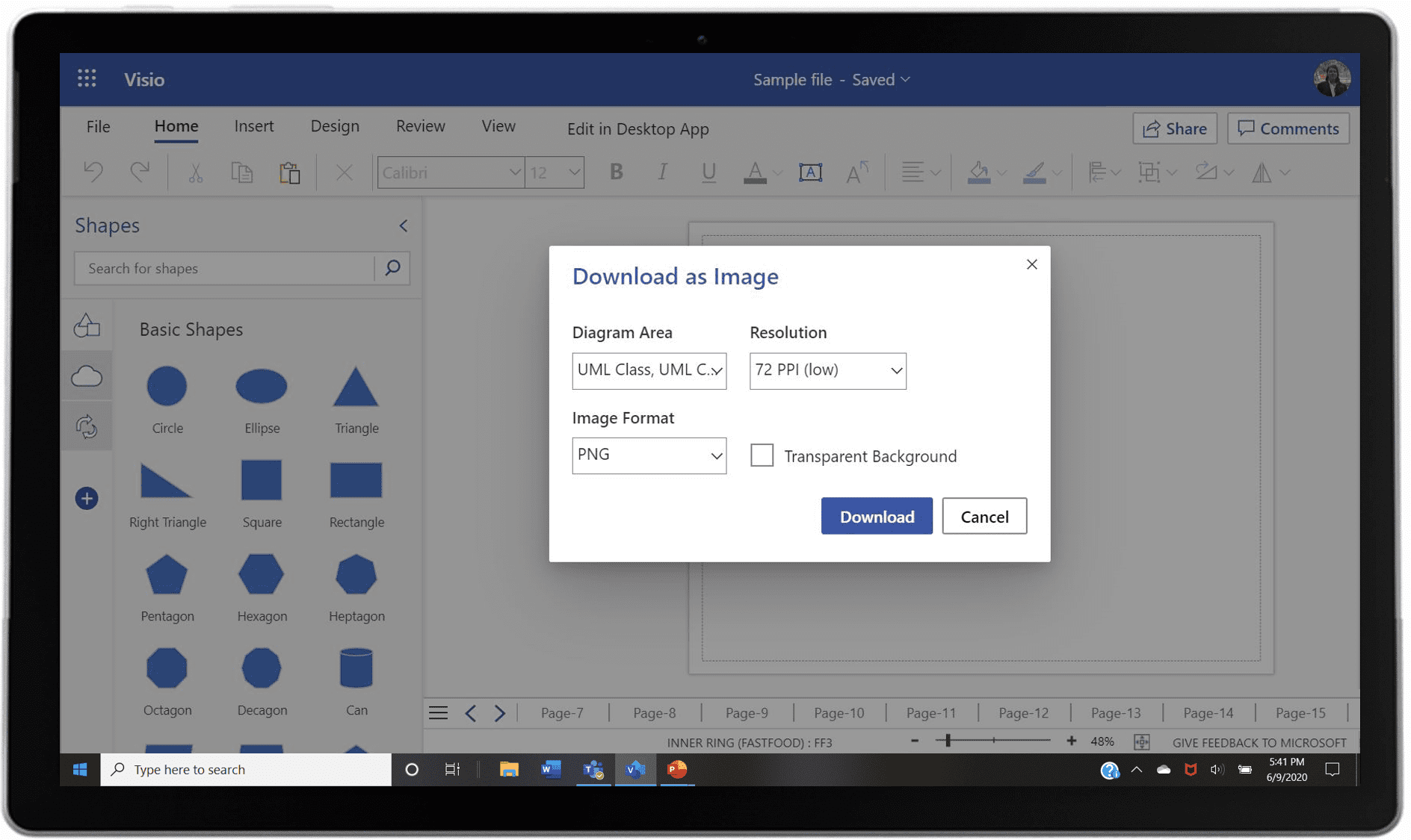 An image of showing how to save diagrams as image files in Visio.