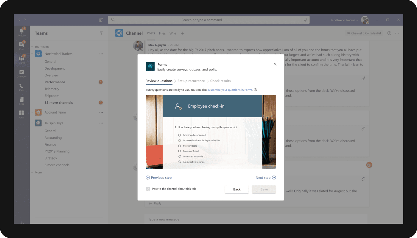 An image of the new survey option in Microsoft Teams.