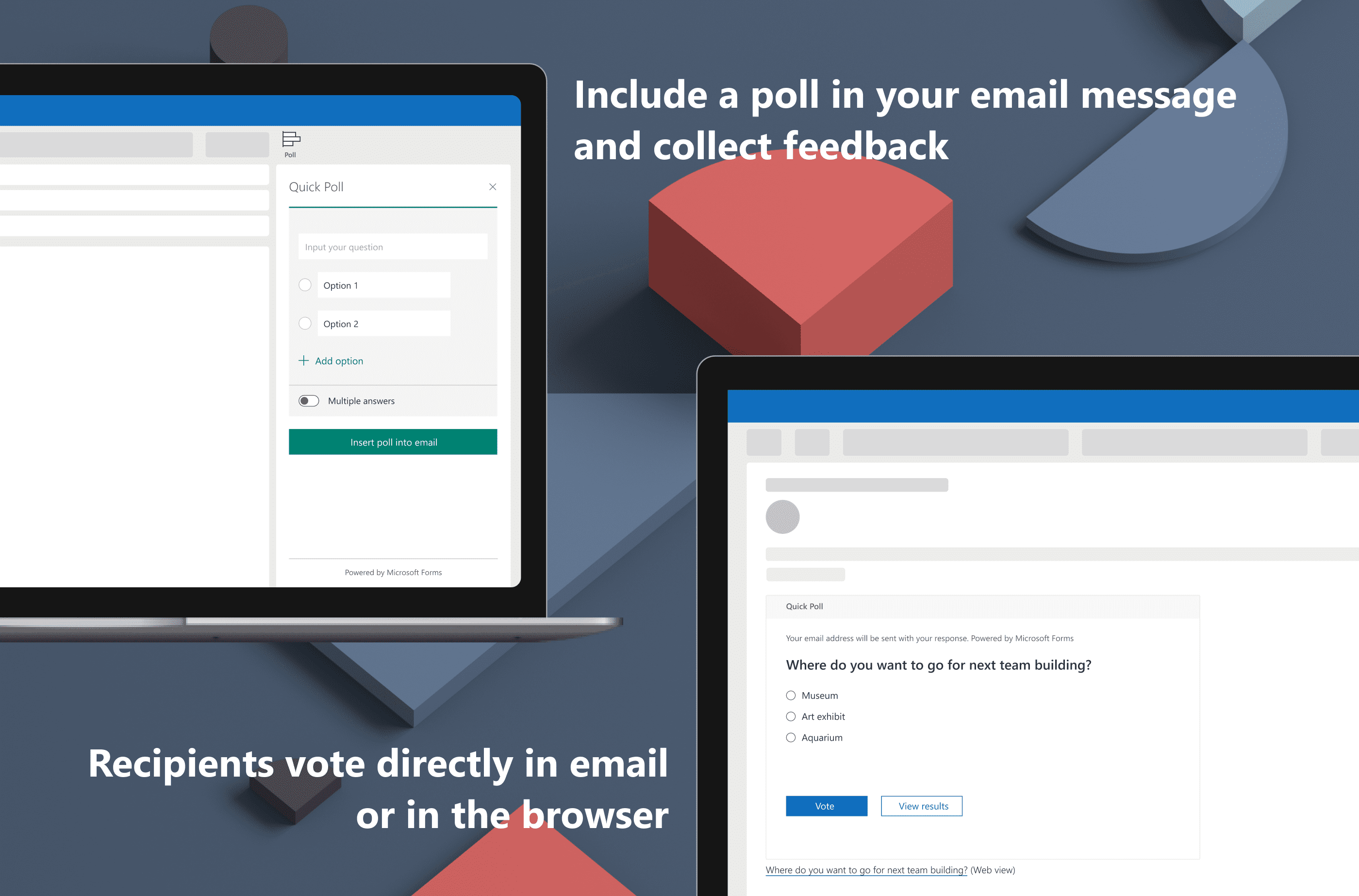 An image showing how easily you votes, and view results within an email.g how you can