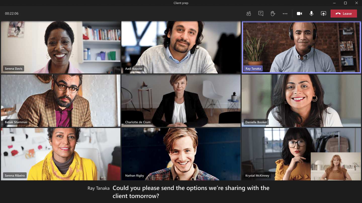Participants in a Microsoft Teams meeting using live captions for accessibility.