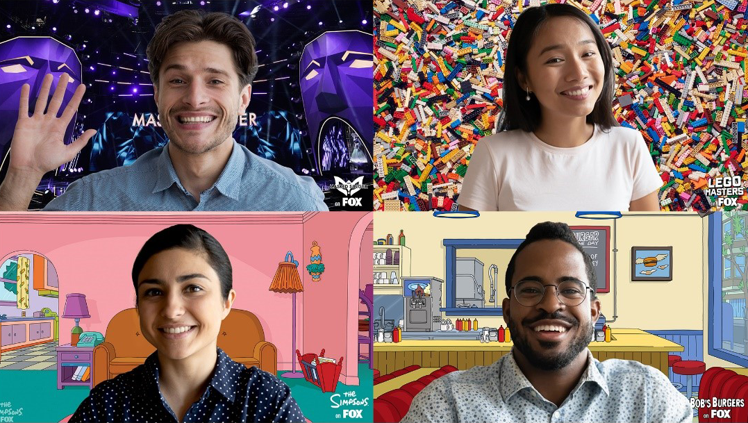 Four Microsoft Teams members in a meeting, each using custom backgrounds.