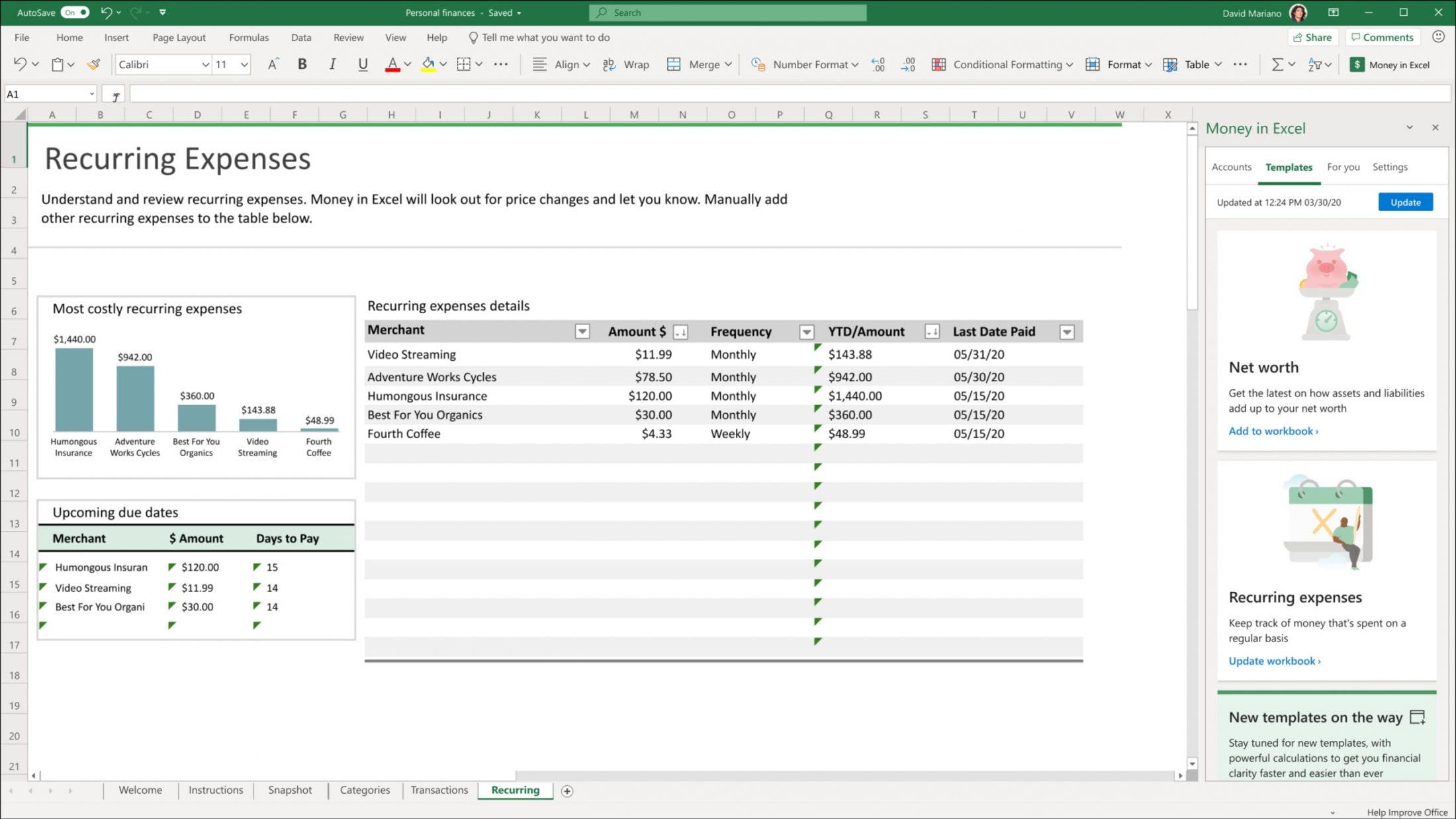 An image of recurring expenses using graphs and tables within Excel.