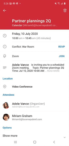 An image of Join in one tap most meetings from Outlook for Android.